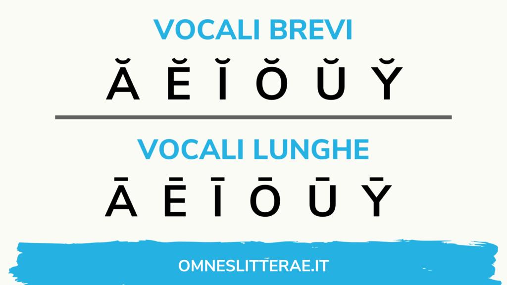 vocali lunghe e brevi alfabeto latino